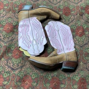 Justin pink /brown square toe boots size 8